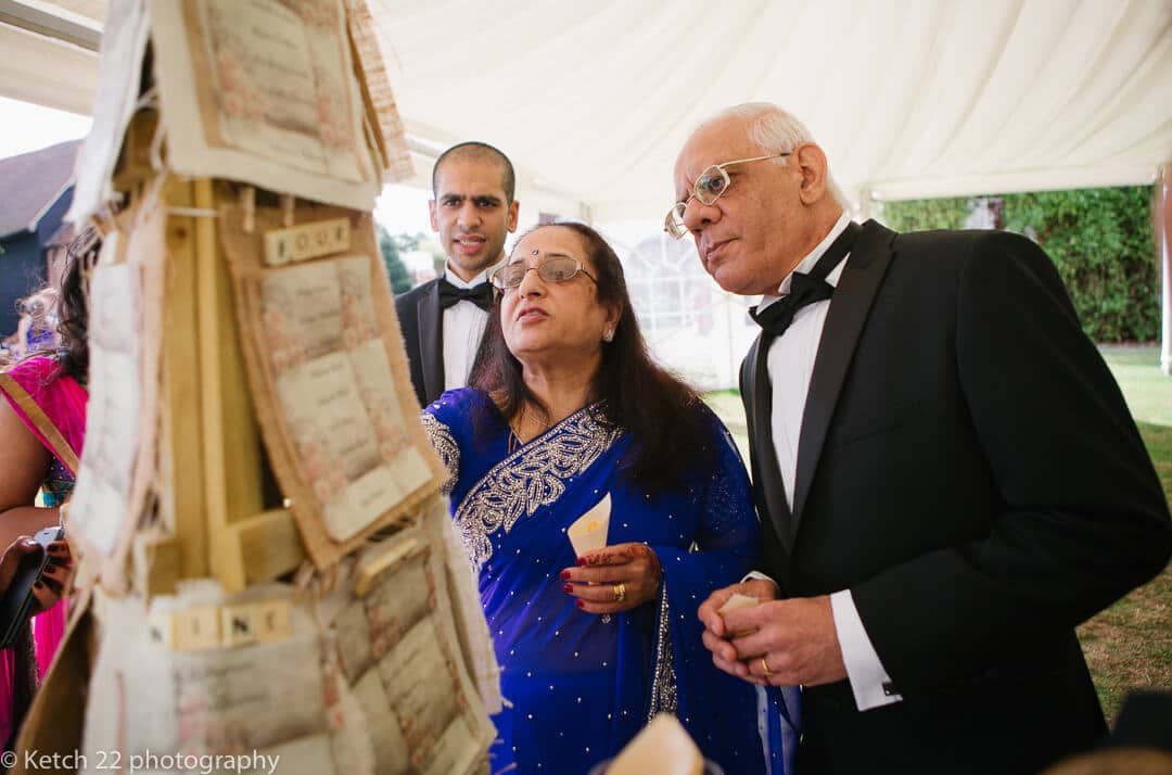 Wedding guests checking seating arrangements