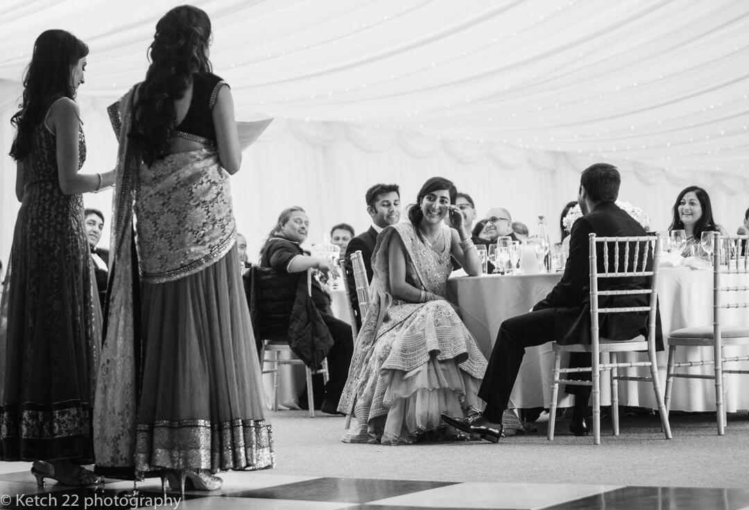 Sister of bride making speech at Indian wedding
