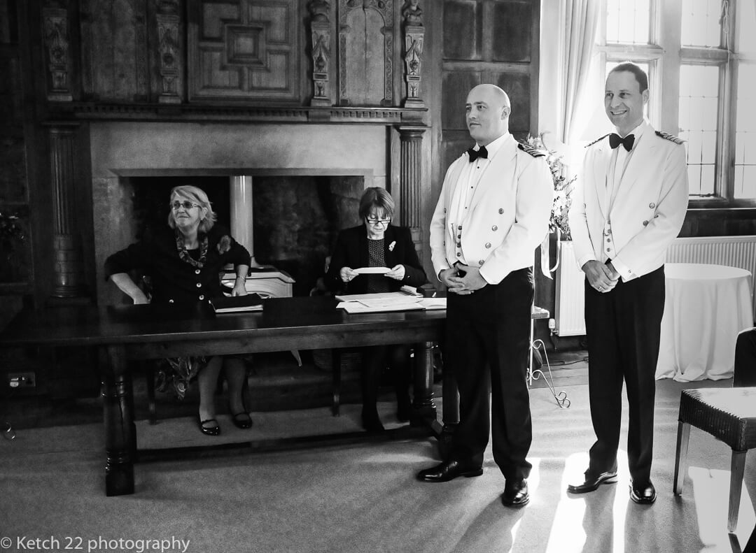 Groom and best man waiting for bride at wedding ceremony