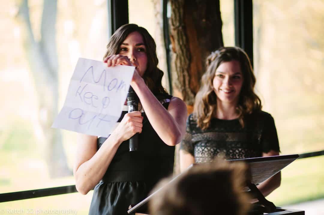 Bridesmaids making wedding speech