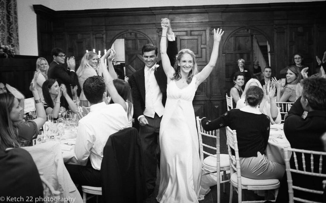 Bride and groom enter dining room at North cadbury Court Wedding