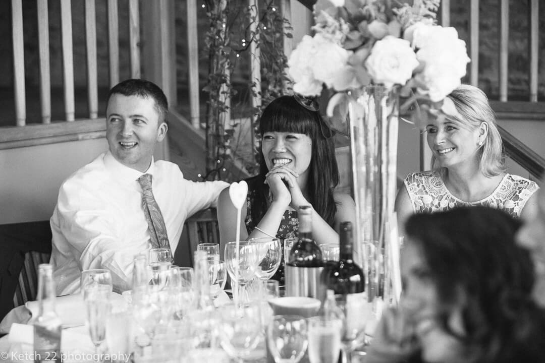 Wedding guests reacting to speeches after dinner