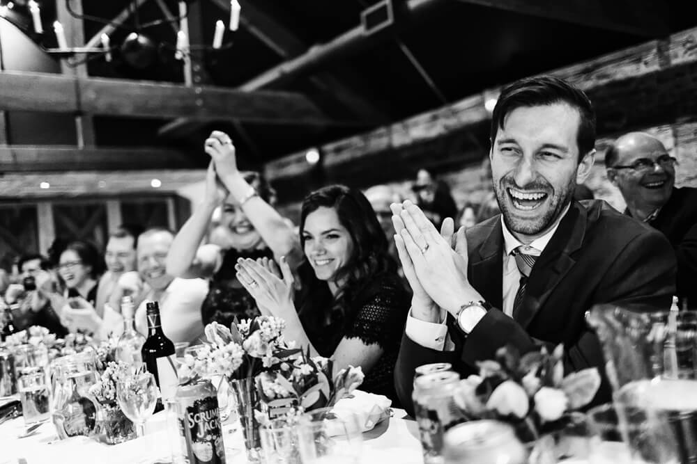 Wedding guests cheering in Gloucestershire