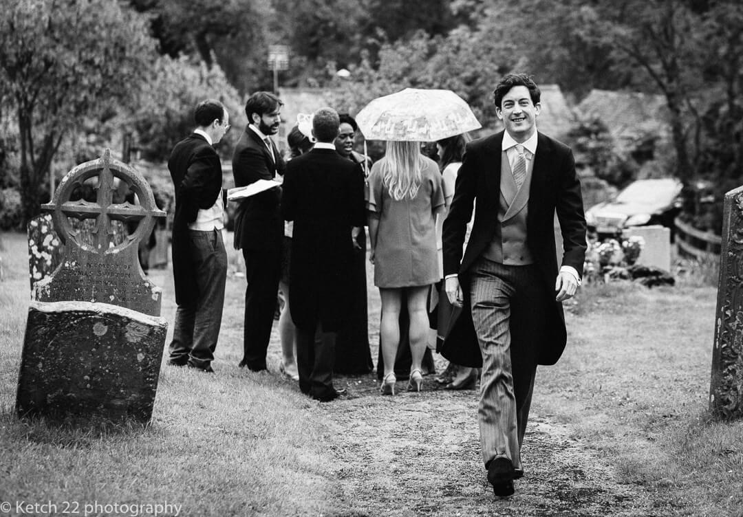 Documentary wedding photo of groom in Oxfordshire