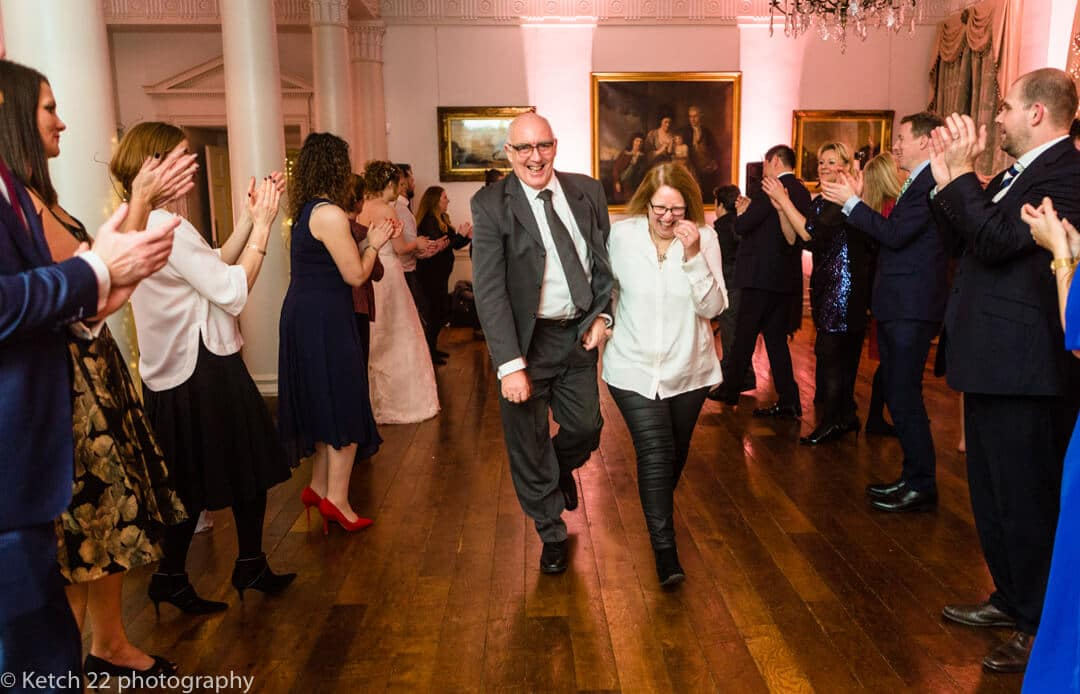 Wedding guests dancing at reception at North Cadbury Court