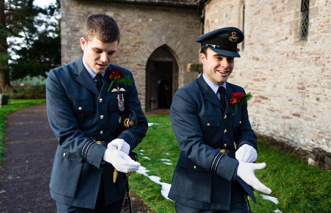 Groomsmen in RAF uniform at wedding