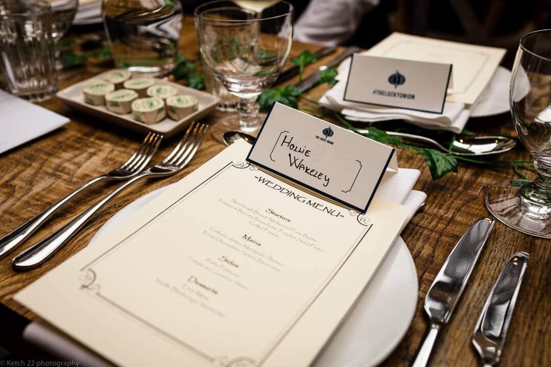 Wedding menu detail