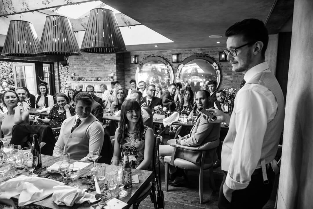 Best man making speech at no 38 wedding Cheltenham
