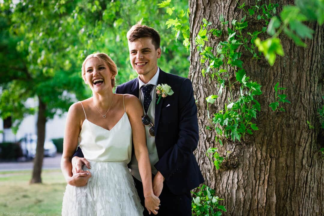 Portrait of bride and groom at Cheltenham wedding