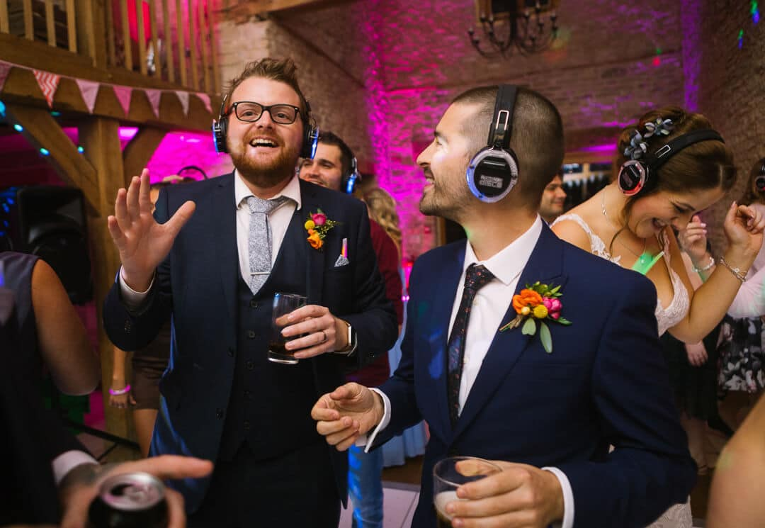 Wedding guests enjoy silent clubbing in Gloucestershire