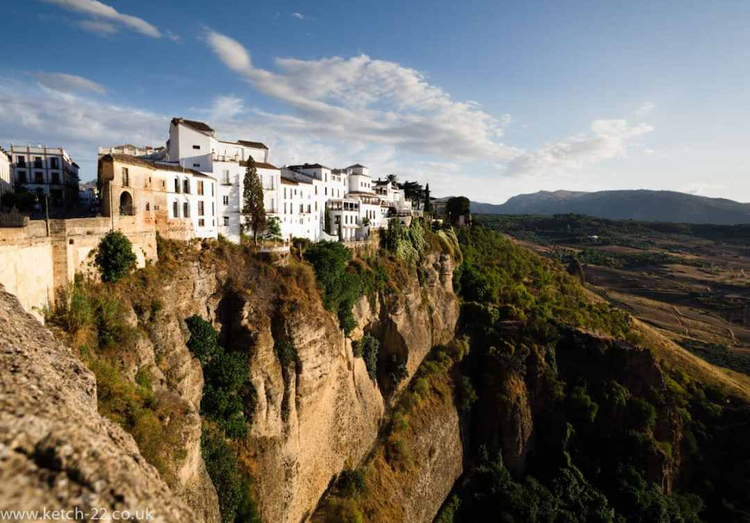 View of Andalusian town of Ronda taken from the new bridge