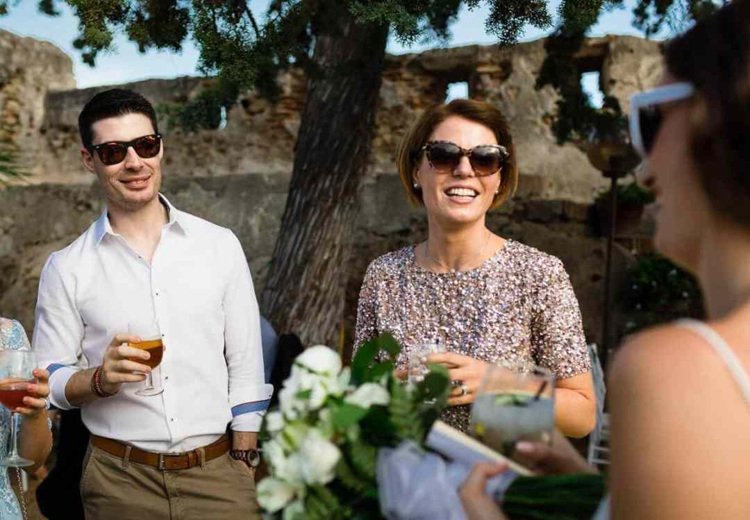 Wedding guests chatting in Andalusia Spain