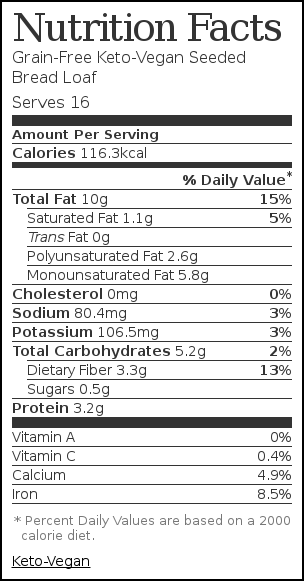 Nutrition label for Grain-Free Keto-Vegan Seeded Bread Loaf