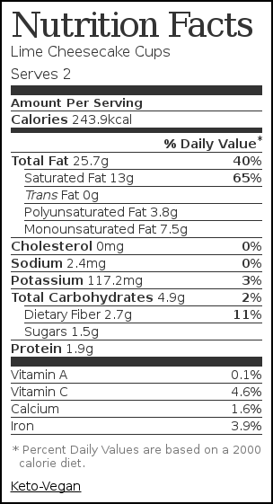 Nutrition label for Lime Cheesecake Cups