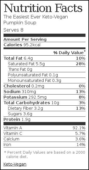 Nutrition label for The Easiest Ever Keto-Vegan Pumpkin Soup