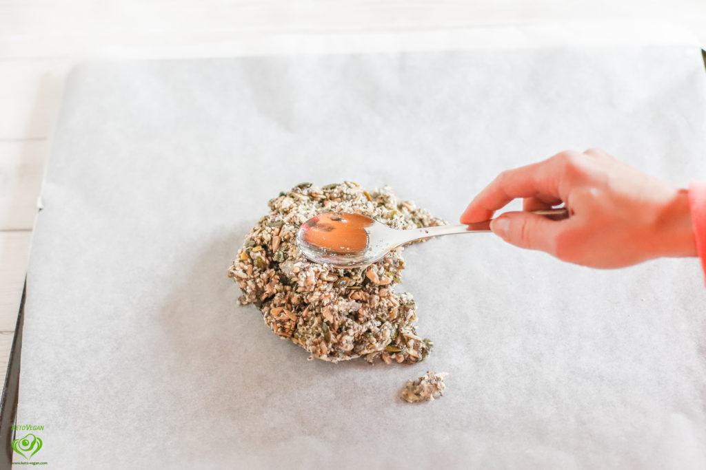 Dough on parchment paper | keto-vegan.com