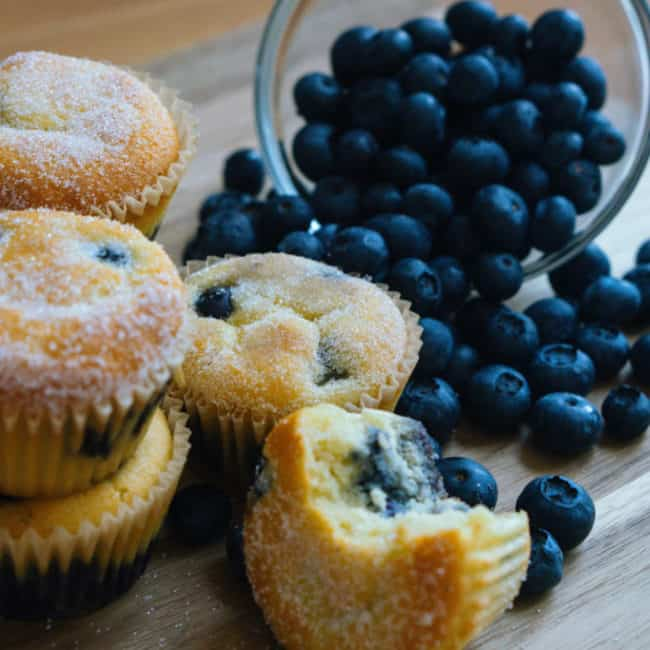 muffins in front of a spilling bowl of blueberries