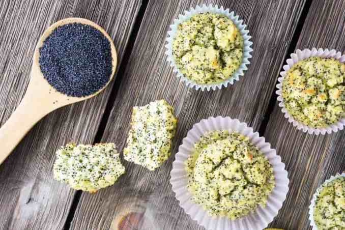 lemon poppy seed muffins on a picnic table