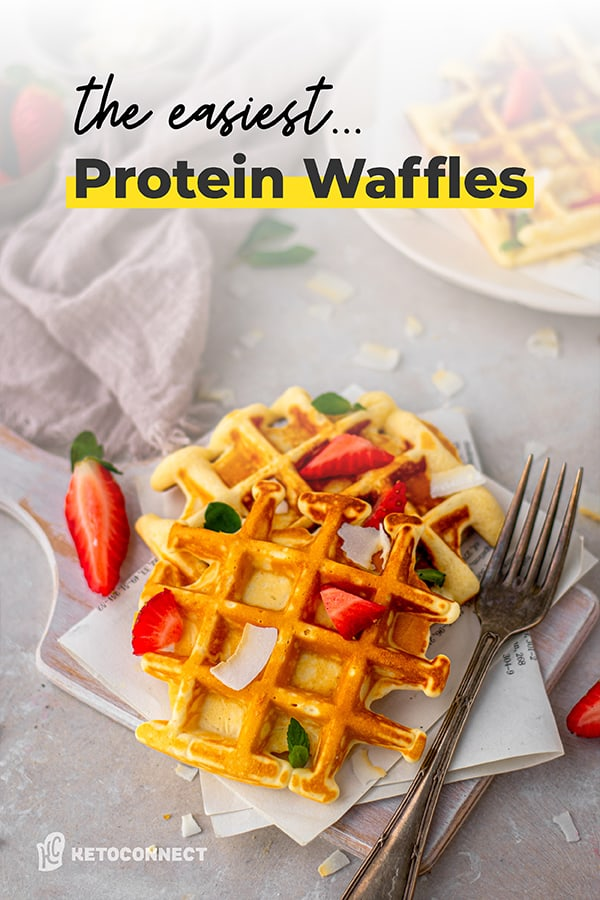 Protein waffles topped with strawberries