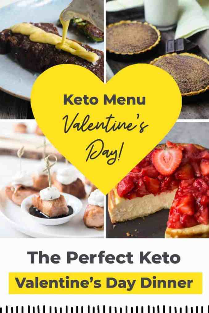 collage of keto valentines day recipes with text overlay