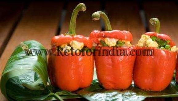 Keto Saturday Lunch Idea: Capsicum stuffed with Cottage Cheese