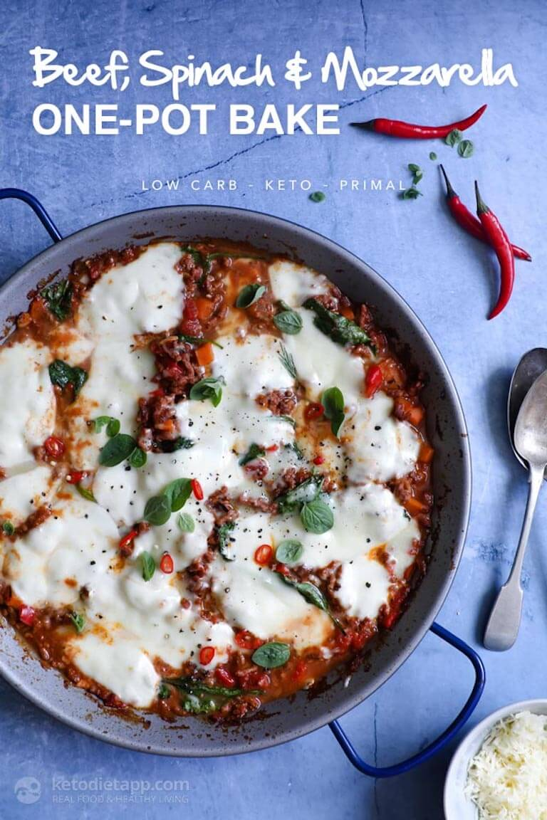 Beef, Spinach, and Mozzarella One Pot Bake