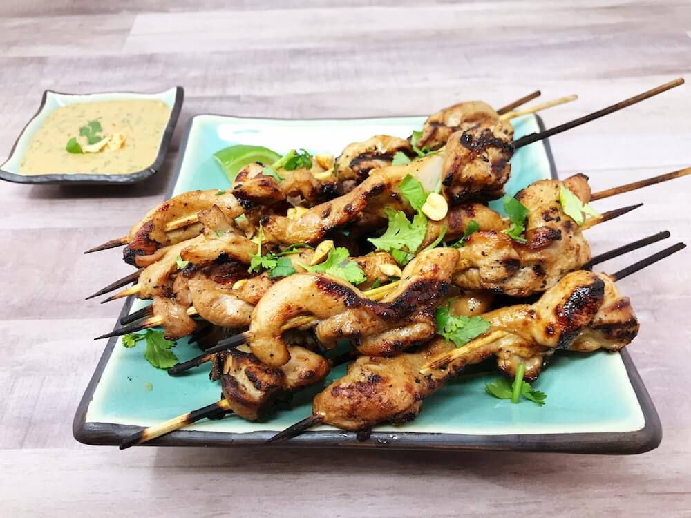 Keto Chicken Satay Finished Dish