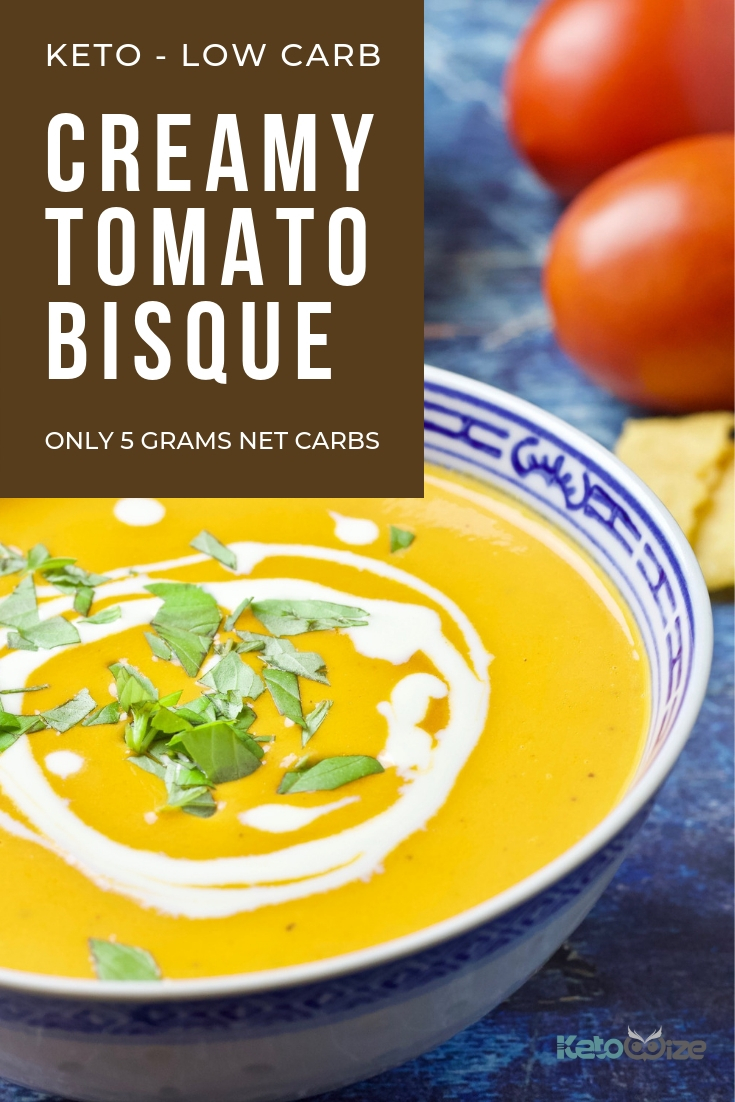 Get ready for the best creamy tomato bisque you've ever had...keto or not.  Our super easy low-carb tomato bisque recipe develops complex and rich flavors in just 30 minutes, stays true to flavor, and has super low carbs! Try it with our keto cheese crackers or a grilled cheese sandwich for the ultimate in comfort foods.  Only 5 grams net carbs per bowl. #ketorecipe #lowcarbsoup #ketosoup