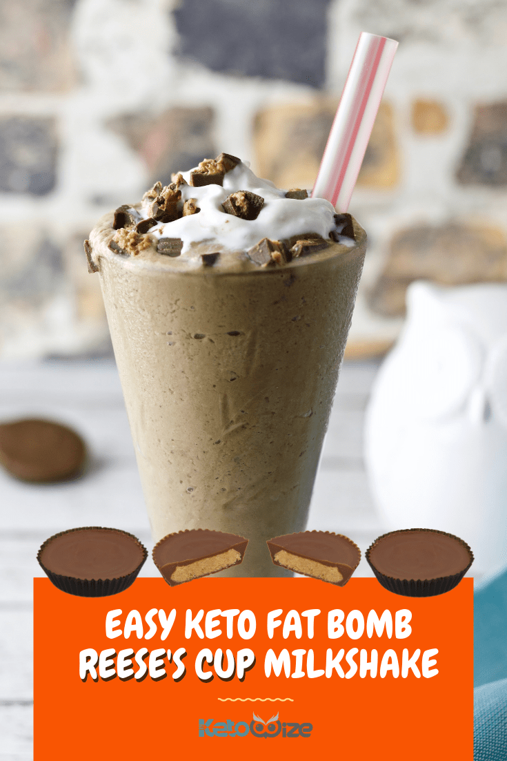 This easy keto fat bomb Reese\'s Cup milkshake recipe will light up your day!  Made with coconut milk and thickened with avocado...wow!  You\'ll find all of the flavors you\'re looking for like chocolate, peanut butter, and creamy whipped cream.  This delicious low carb treat is great for simple breakfast or dessert.  Even add a scoop of protein powder for a protein-packed after workout snack.  Skip the Halo Top and try this dairy free recipe instead.