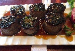Negimaki - Thin-sliced meat wrapped around veggies