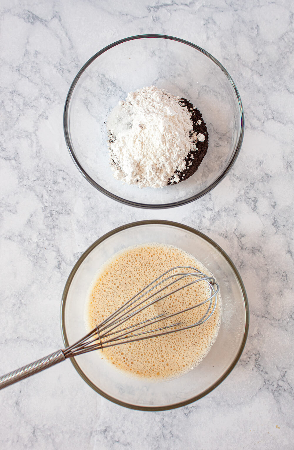 Mix the wet and dry ingredients separately for this recipe.