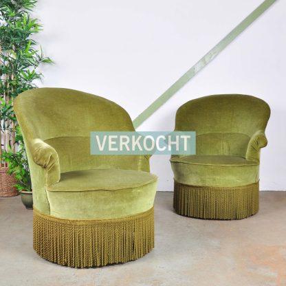 Vintage Fauteuil Groen Velours