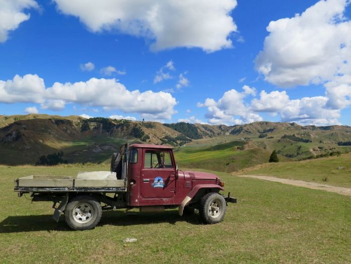 A vintage red truck near Tongariro National Park, New Zealand.