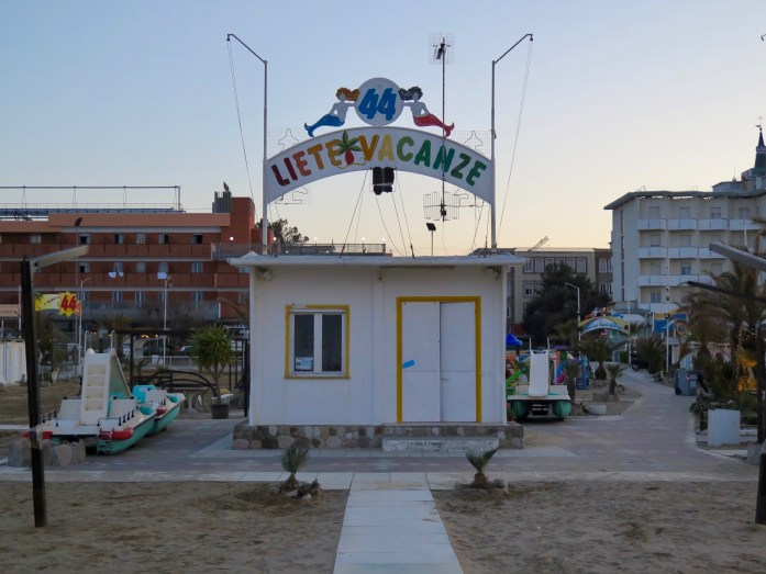 A beach shack business in Rimini, a popular vacation spot on Italy's Adriatic coast. If you want to see first-hand what ferragosto is, this is a good place to find out. ©KettiWilhelm2018