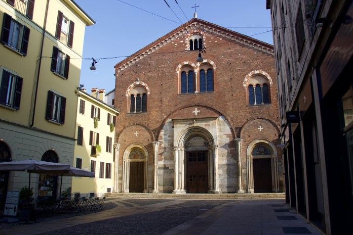 An empty street and church in Milan in January –before the arrival of coronavirus in Italy.