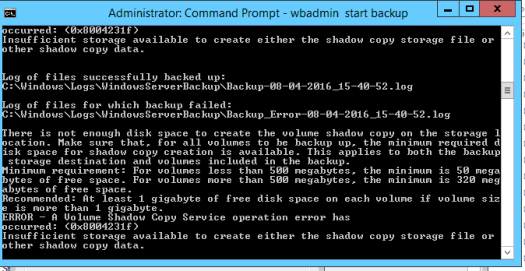 Command Prompt Backup Error 2