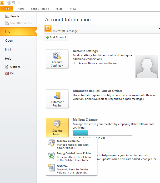 Archive Menu in Outlook 2010