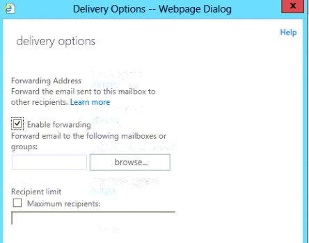 Exchange Delivery options dialog