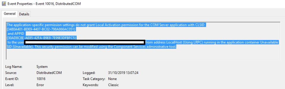 DCOM Event 10016 Error Image