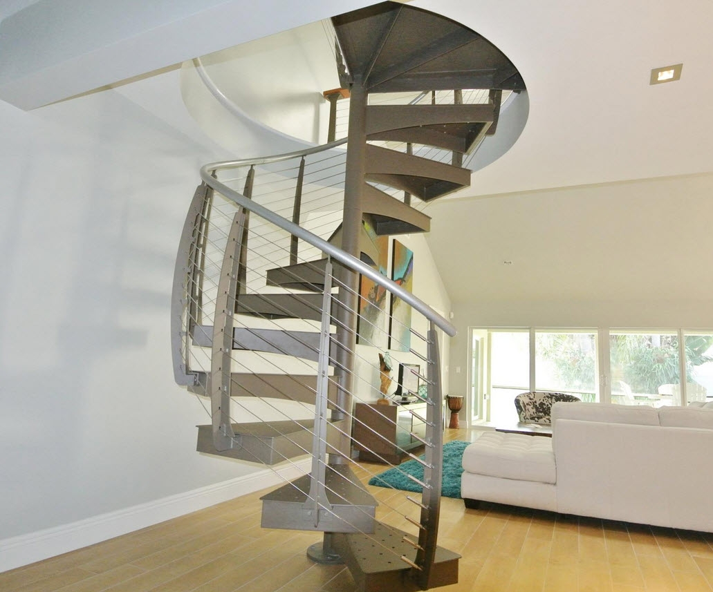 Spiral Staircase With Cable Railing Jupiter Fl Keuka Studios   Loft With Spiral Staircase   Small   Contemporary   Addition   Timber   New