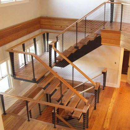Custom Cable Stair Railing Nantucket MA Keuka Studios