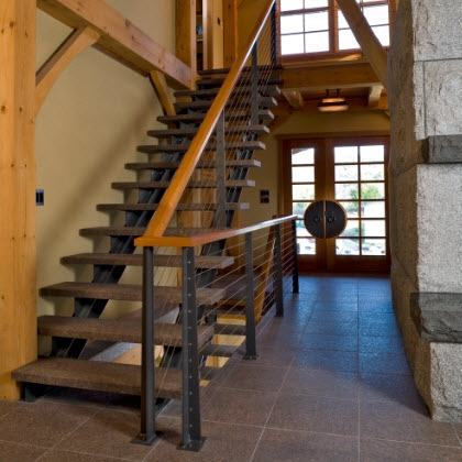 Rustic Stair Railing System With Custom Posts Keuka Studios   Rustic Handrails For Stairs   Basement   Wooden   Banister   Metal   Deck