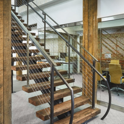 Bare Steel Mono Stringer Stairs And Cable Railing Philadelphia | Stair Railing Wood And Steel | Tall Stair | Spiral Stair | Easy Stair | Office Interior Stair | Different Staircase
