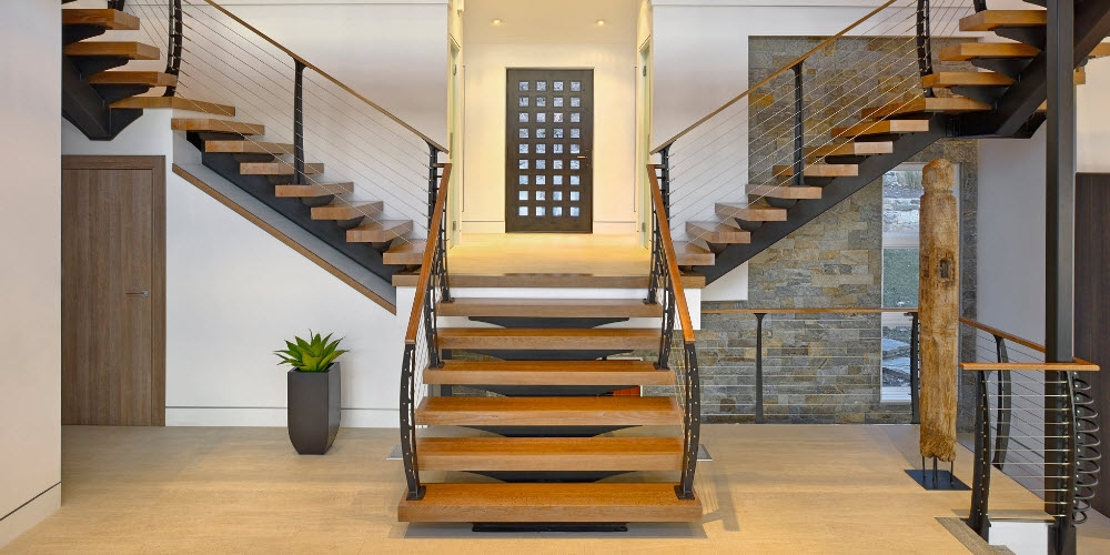 The Best Cable Railing You Can Buy Top 10 Reasons Keuka Studios | Wood And Wire Stair Railing | Before And After | Coastal | Natural Wood | Residential | Utility Panel