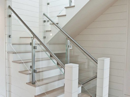 Custom Glass Railing For Stairs And Decks Keuka Studios   Glass Stair Rails And Banisters   Photo Gallery   Perspex   Thick Solid Oak Stair   Mirror   Stair Price