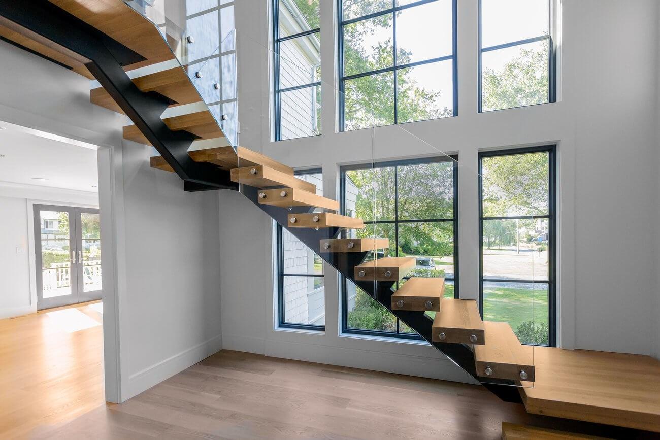 Glass Staircase Home Remodel Riverside Ct Keuka Studios   Modern Glass Stair Railing   Dark Wood   Banister   Wall Mounted   Cost   Basement
