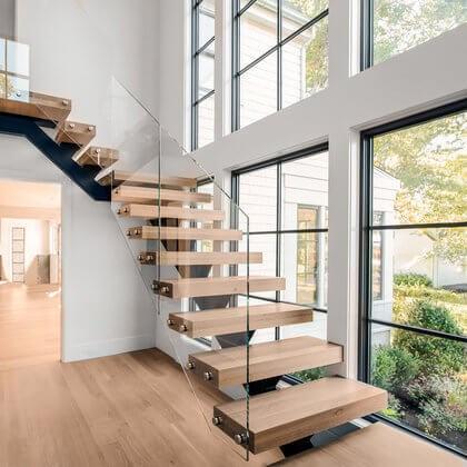 Cable Railings And Stairs Custom Designs By Keuka Studios   Modern Stair Railings Interior   Minimalist   Luxury   Straight   Wall Mounted   Brushed Nickel