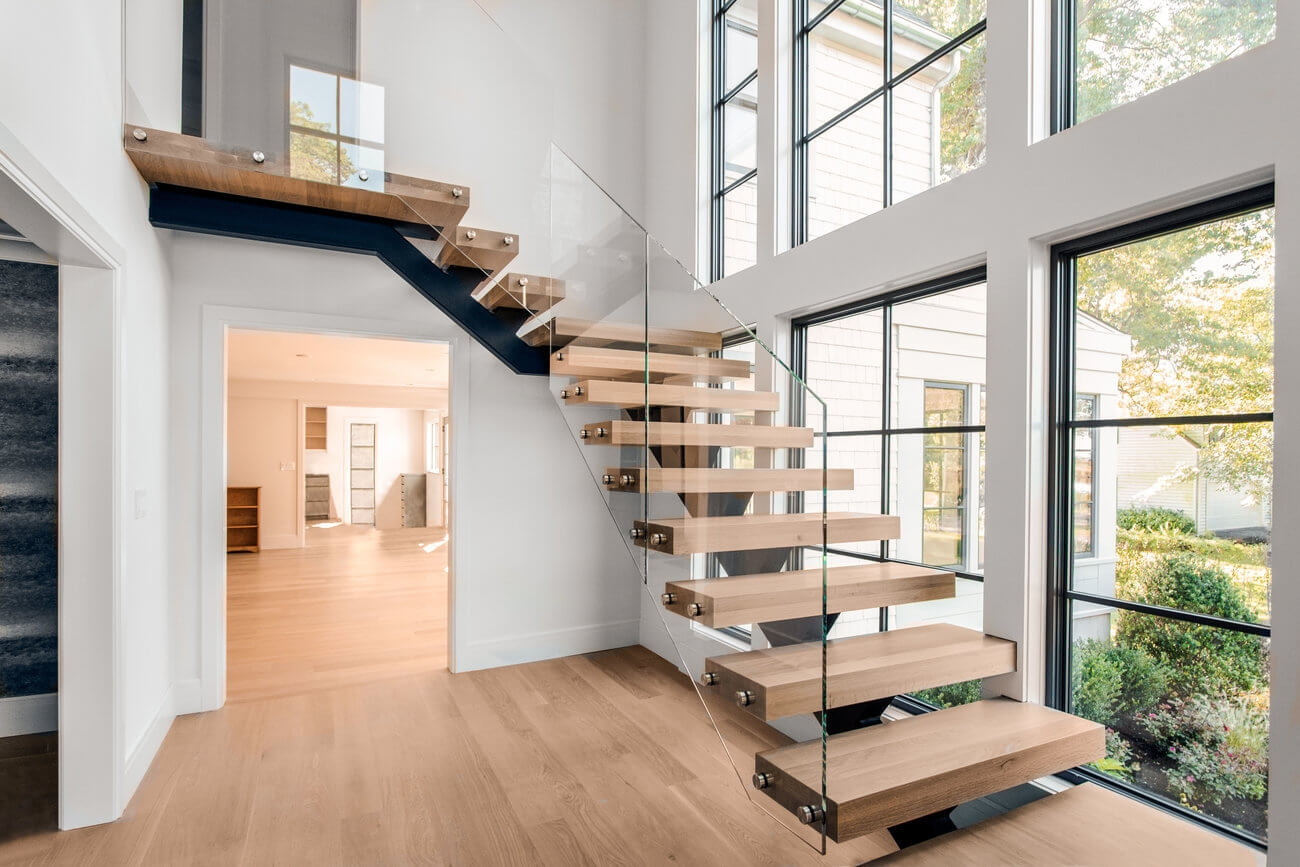 Glass Staircase Home Remodel Riverside Ct Keuka Studios   Design For Stairs At Home   Stair Case   Staircase Remodel   Stairway   Living Room   Handrail