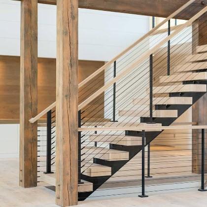 Cable Railing Custom Stairs Project Gallery Keuka Studios | Long Island Custom Railings | Wrought Iron | Aluminum Railings | Staircase | Stairs | Porch