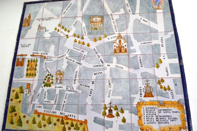 Mapa do centro histórico de Sevilha
